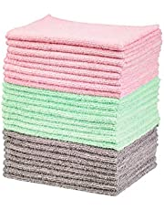 Amazon Basics Green, Gray and Pink Microfiber Cleaning Cloth, 24-Pack
