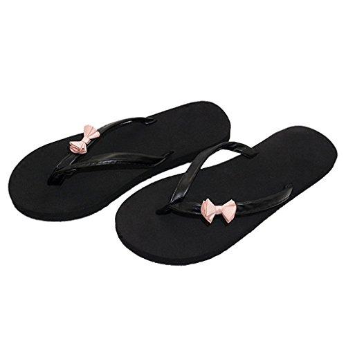 Noeud Toe Flat Filles 5cm en Sandale avec Forme Clip on Talon mi Slip Femme Rose Chaussures Casual Été EVA Dames Slipper Belle Plate Vacances 1 pour Petit Plage Noir Wedge Plat nwYqUxfF