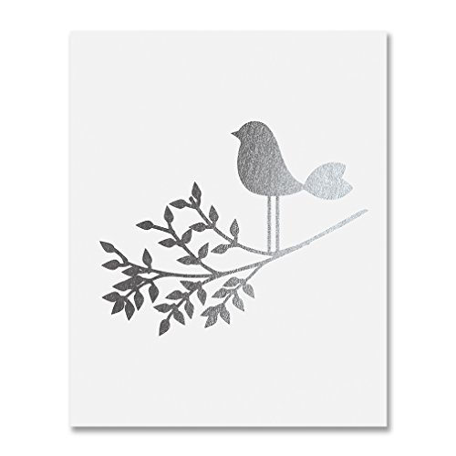 Sweet Branch (Bird on a Branch Silver Foil Art Print Baby Bird Decor Nursery Poster Girl's Room Modern Nature Decor 8 inches x 10 inches A30)