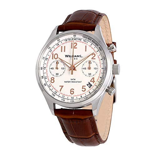 - William L. 1985 WLAC01BCORCM Men's Chronographs White Dial Brown Croco Leather Strap Watch