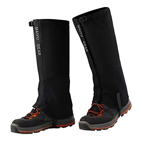 Camping Mountain Climbing Snow Gaiters Oxford Waterproof Dustproof Antiwater Leg Cover Breathable Anti-bite High Gaiter Leg Protection Guard Boot Guardian (Black - XL) ()