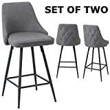 BTEXPERT Premium Tufted upholstered Dining 25' High Back Stool Bar Chairs, Set of 2 Pack Gray Polyester