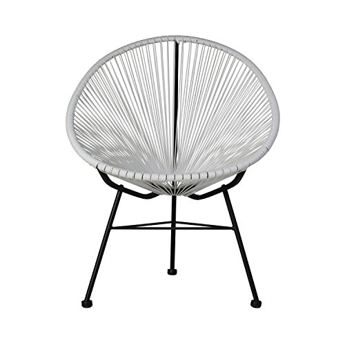 Design Tree Home Acapulco Indoor/Outdoor Lounge Chair Weave On Black Frame, White (Acapulco Furniture)