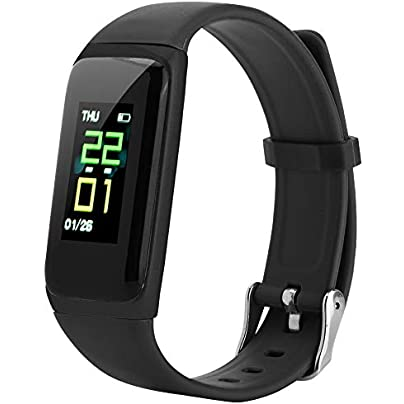 Pokerty Smart Bracelet IP67 Waterproof Smart Bracelet Blood Pressure Heart Rate Monitor Wristband for Kids Women Men black Estimated Price -