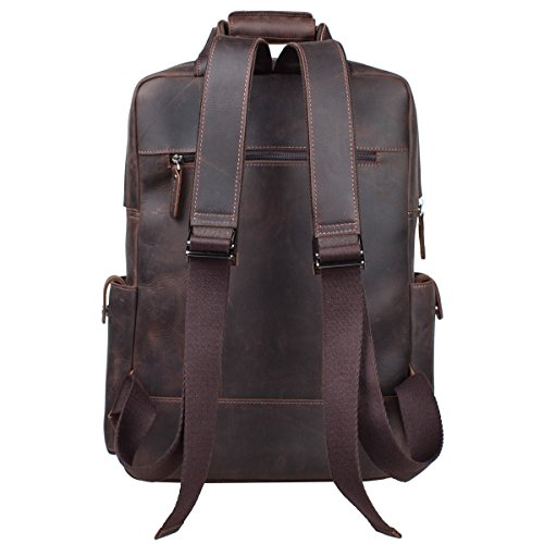 S-ZONE Vintage Crazy Horse Genuine Leather Backpack Multi Pockets Travel Sports Bag by S-ZONE (Image #3)