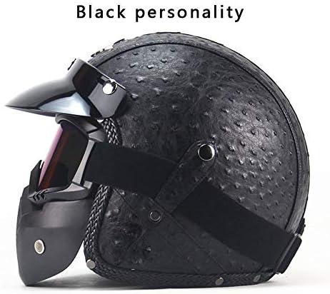 Four Seasonsヴィンテージヘルメット手作りパーソナリティオートバイモーターカー3/4レザーヘルメットハーフヘルメット男性と女性のモデル,A,XL