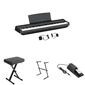 yamaha p125 digital piano bundle with z stand bench and sustain pedal black. Black Bedroom Furniture Sets. Home Design Ideas