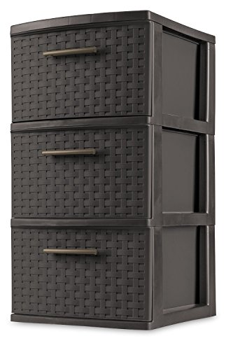 STERILITE 26306P02 Decorative 3-Drawer Storage Weave Tower, Espresso (Rubbermaid Storage Drawers)
