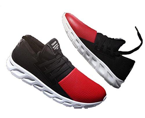WZG nuevos deportes de invierno de los hombres que ejecutan los pies zapatos perezosos zapatos del estudiante de los zapatos establecidos estiran los zapatos de moda de Corea Red