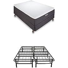 Classic Brands Cool Gel Memory Foam 12-Inch Mattress with Hercules 14-Inch Heavy-Duty Metal Platform Bed Frame, Queen