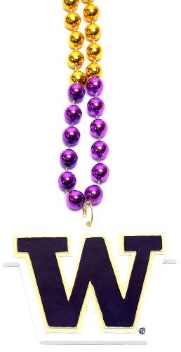 NCAA Washington Huskies Team Logo Mardi Gras Style Beads -