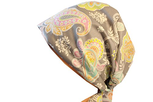 Gray Scrub Cap - Scrub Hat Chemo Cap European Pixie (lacy pastel)