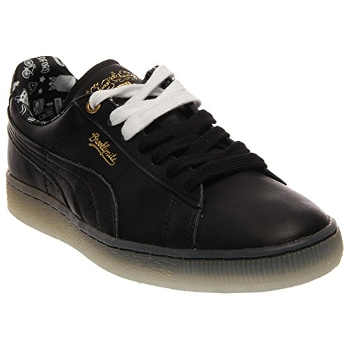 "Puma Womens Basket Classic Wn ""Sophia Chang"" Black/White-Gold Leather Size 7.5"