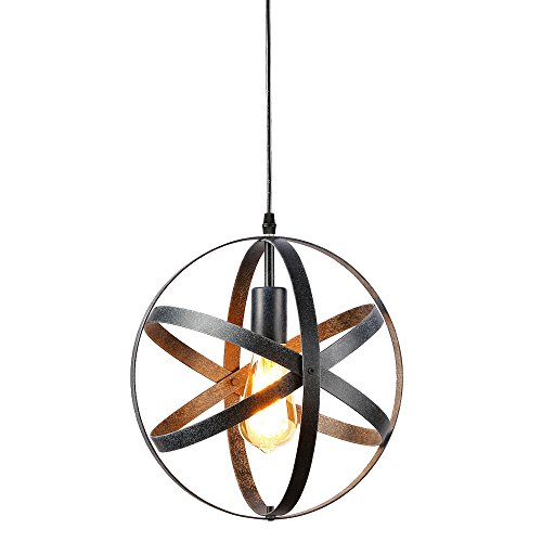 (Create for Life Rustic Pendant Light Chandelier One Light Pendant Light Globe Chandelier Vintage Industrial Pendant Light Fixture for Kitchen Island)