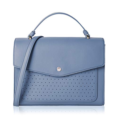 Blue Bag Satchel Women's Purse Tote Cross 5OhCAU9e5n Closure The Lovely body Perforated Flap xgUqw4a