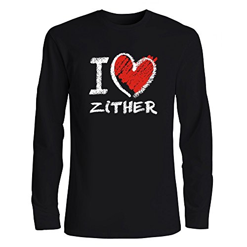 Idakoos I Love Zither Chalk Style Musical Instrument Long Sleeve T-Shirt