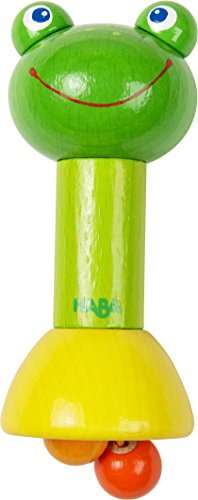 (HABA Rod Clutching Toy Frog with Dangling Balls and Rattling Effect (Made in Germany))
