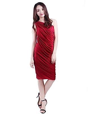 HDE Women's One Shoulder Midi Cocktail Dress Ruched Side