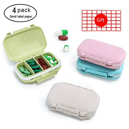 4PCS 4 Compartments Plastic Pill Cases, Large Capacity Medicine Travel Waterproof Pill Organizer Box Case for Purse or Pocket Portable Pill Box for Vitamin Fish Oils Daily Use