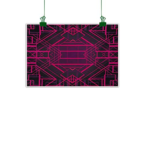 Unpremoon Indigo,Canvas Prints Artwork Geometric Modern Design with Lines Triangle Square Details Art Print Abstract Art Pink Burgundy and Purple W 32