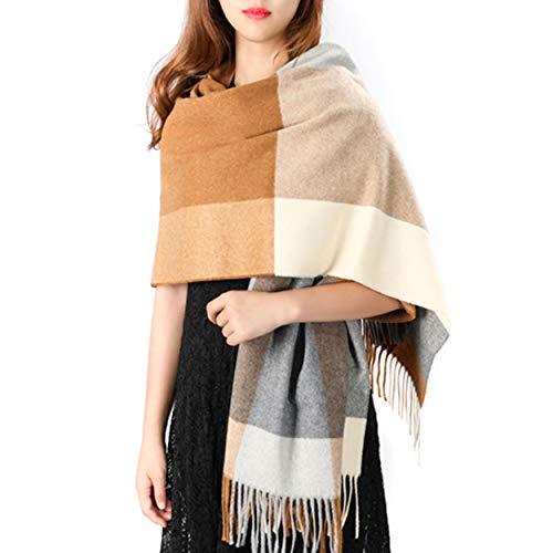 Women's Grid Shawl, Cashmere Blend Plaid Stole Scarf, Thick Soft Pashmina Wrap Lattice Large Wool Blanket 75'' x 24'' (Camel & ()