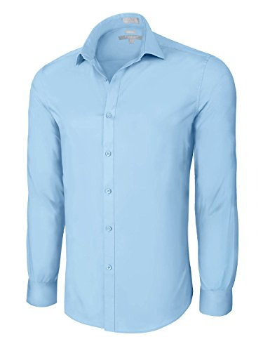 Slim Fit Cotton/Spandex Dress Shirt - Powder Blue Medium (15-15.5) 33/34 Sleeve