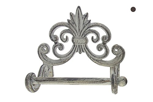 "Comfify Fleur De Lis Cast Iron Toilet Paper Roll Holder - Cast Iron Wall Mounted Toilet Tissue Holder - European Vintage Design - 6.75'' x 6.25'' x 4.25"" - with Screws and Anchors (Antique White) by Comfify"