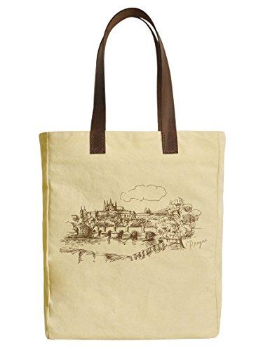 Prague Czech Republic Beige Printed Canvas Tote Bags Leather Handles WAS_30 (Prague Leather Handbag)