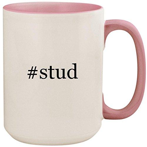 (#stud - 15oz Ceramic Colored Inside and Handle Coffee Mug Cup, Pink)