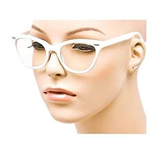 MJ Eyewear Cat Eye Teacher 80s Retro Clear Sunglasses Eyeglasses (WHITE, CLEAR)