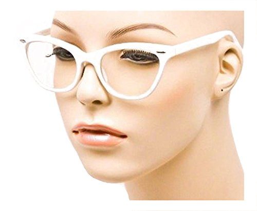 MJ Eyewear Cat Eye Teacher 80s Retro Clear Sunglasses Eyeglasses (WHITE, - 80s Eyewear