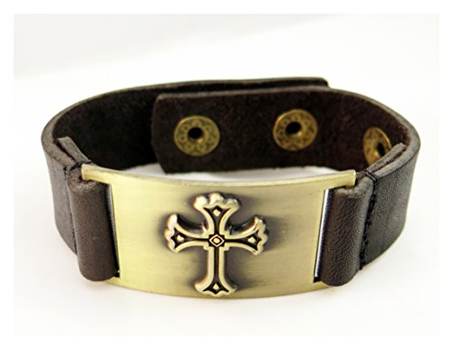 Cross Bracelet, Leather, Adjustable