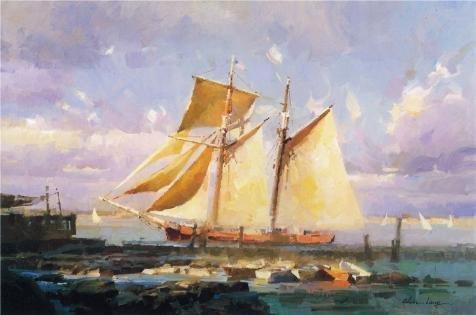 oil-painting-calvin-liang-the-sailing-boat20-century-8-x-12-inch-20-x-31-cm-on-high-definition-hd-ca