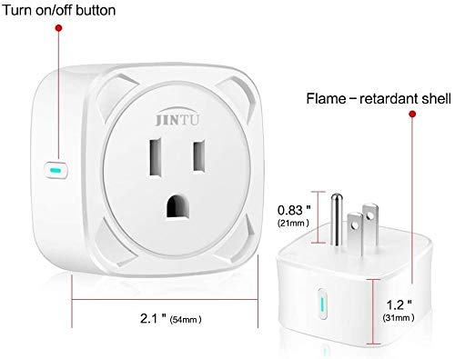 JINTU Smart Plug WiFi Smart Outlet 16A Work with Amazon Alexa & Google for Voice Control, Phone APP Remote Control with Timer, No Hub, ETL FCC Certified White (2 Pack)