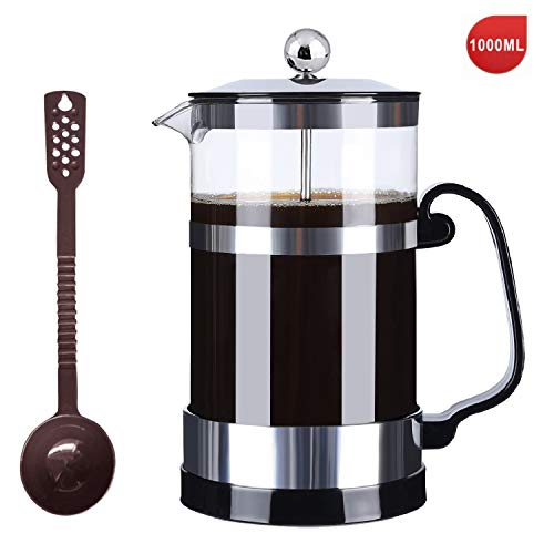 SmartHom French Press Coffee Maker 34 Oz 8 Cups, Particular Coffee Press & Tea Maker with Triple Filters and Durable…