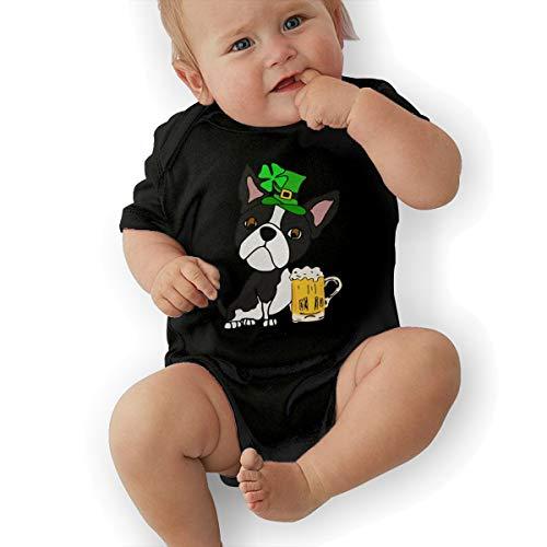 Mri-le2 Baby Girls Short Sleeve Jumper Bodysuit Boston Terrier Dog St. Patrick's Day Toddler Clothes Black]()