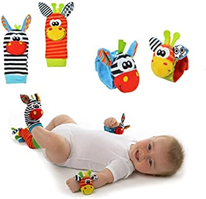 Hand Foot Socks Newborn Baby Soft Rattles Handbells Developmental Kids Toys