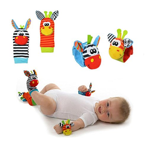 Citizens And Saints Christmas - Foot Finders - 2pcs wrist + 2pcs socks Baby Infant Soft Handbells Hand Wrist Strap Rattles/Animal Socks Newborn Finders Stuffed Christmas Toys - Baby Wrist Rattle (4PCS NO1)