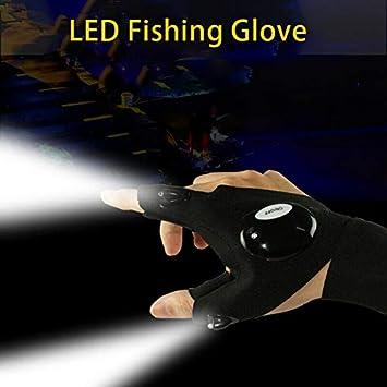 correa m/ágica para pesca reparaci/ón Guantes de pesca Powertool para exteriores tama/ño 1pc-right hand 1 mano izquierda trabajo en lugares oscuros camping color negro con luz LED oscura