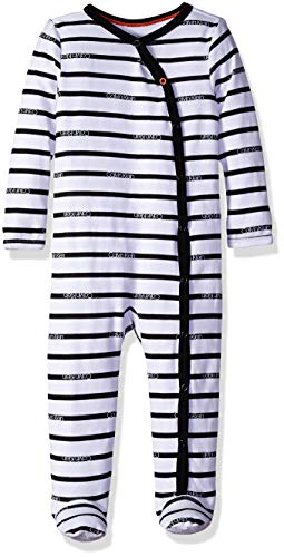 Calvin Klein Baby Long Sleeve Footed Coverall, Black/Ck Layette Stripe Black, 12-18 - Percent Mitten 100