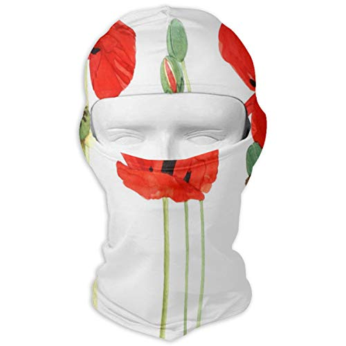 Balaclava Red Poppy Garden Full Face Masks Ski Headwear Vintage Girls Motorcycle for Cycling