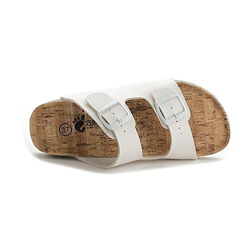 flop flip Versione Set Flop della ra bianco studente pulsanti Flip coreana Cork spiaggia pantofole XIAMUO sig estate piatto dimensione plus due 35 di sandali HxqwSnU4nC