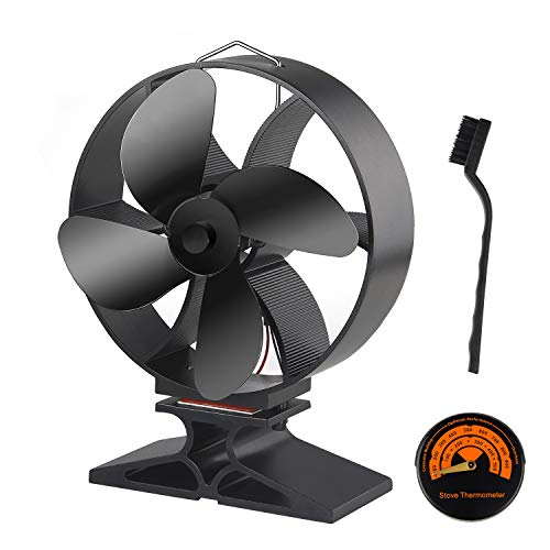 FEPITO Wood Stove Fan Wood Burner Fan with Stove Thermometer and Nylon Brush for Wood/Log Burner/Fireplace,Heat Powered 4-Blade