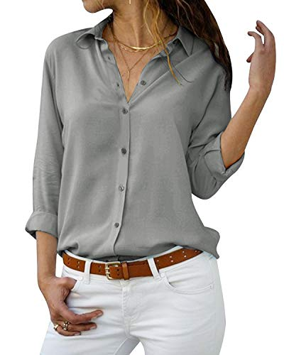 Yidarton-Womens-Long-Sleeve-V-Neck-Chiffon-Blouses-Tops-Button-Down-Business-Shirts