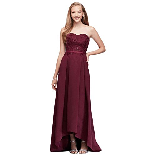 David's Bridal Appliqued Faille High-Low Bridesmaid Dress Style OC290019, Wine, 20 by David's Bridal (Image #3)