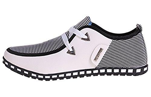 Hombre Zapatos Mocasines Up Lace Blanco Plano Corte LIEBE721 Lona Cuero bajo Casual de Conducción TZ6vAqd