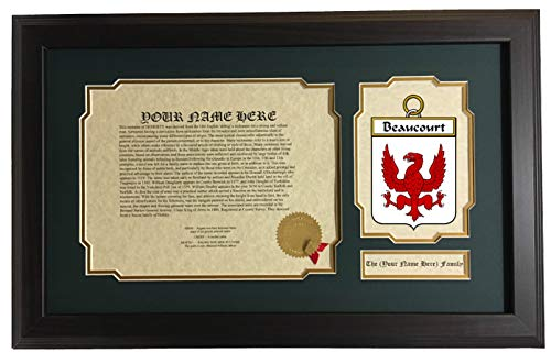 Beauchamp - Coat of Arms and Last Name History, 14x22 Inches Matted and (Beauchamp Collection)