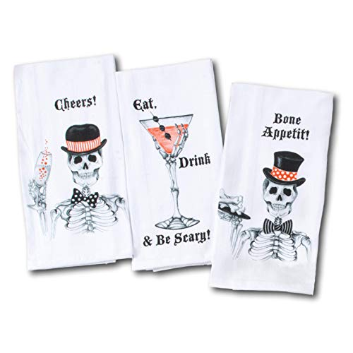Kay Dee Designs Fancy Skeleton Party Funny Halloween Flour Sack Towels - Toast, Cocktail, Hors D'oeuvres - Set of 3 -