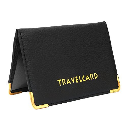 Black Soft Leather Travel Card Bus Pass Credit Card ID Card Wallet Cover Case Holder by Kwik Buy TC403