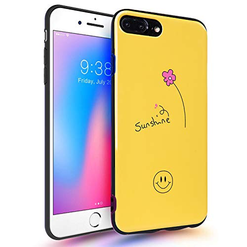 MAYCARI Yellow Phone Case with Smile Face Sunshine Pattern Compatible with Apple iPhone X, Shining Pattern Design [IMD Technology] Glossy Soft & Flexible Silicone Case ()